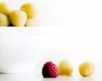 Raspberries, Food Photography, Yellow, White, Red, Kitchen Wall Art, Kitchen Print