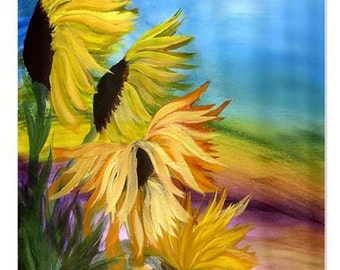 Sunflower field floral shower curtain from my art