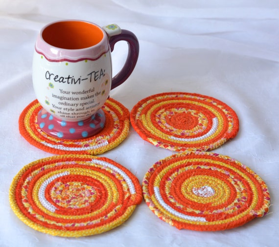 Summer Coasters with Decorative Basket, Handmade Candy Dish Bowl and Mug Rugs, Fun Patio Decor, Set of 4 Coasters and matching holder