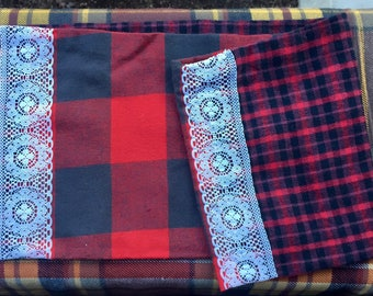 Red Plaid Lace Circle Scarf