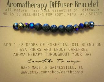Aromatherapy Diffuser Bracelet with Natural Lava Rock and Glass Beads (multi color)