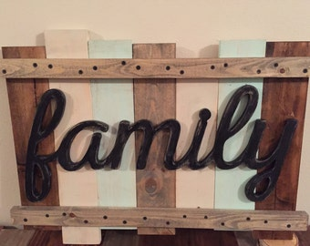 Family Sign on the wood board