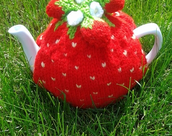 Strawberry Knitted Tea Cosy, handmade tea cosy, tea cozy, teapot cover, strawberry tea cover, gift for mom, tea party gift, novelty tea cosy