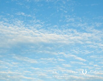 Cloud Art, Nursery Decor, Nature Art, Landscape Photography, Cloud Print, Nursery Art, Blue, White, Clouds