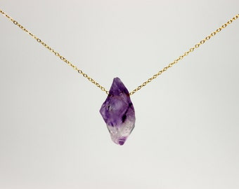 Ordinary Princess Amethyst Necklace - raw amethyst gemstone on gold filled or sterling silver chain - February birthstone necklace