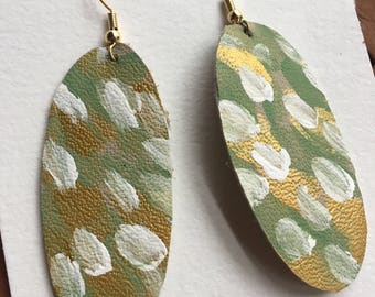 Painted Oval Leather Earrings (green)