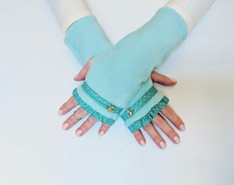 Birthday Gift for Her, Valentine's Day Gift, Unique Fingerless Gloves, Fingerless Mittens, Blue Arm Warmers, Hand Warmers, Wrist Warmers