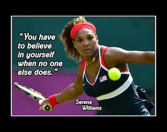 "Tennis Motivation Quote Poster, Inspirational Wall Art, Photo Wall Decor, Champion, Home Decor, Gift, Art Print, Serena, 8x10"", 11x14"""