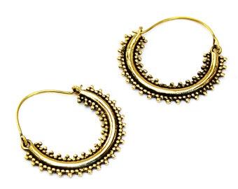 Brass Hoop Earrings, Gypsy Earrings, Tribal Earrings, Brass Earrings, Indian Earrings, Boho Earrings, Ornate Earrings, Indian Jewelry