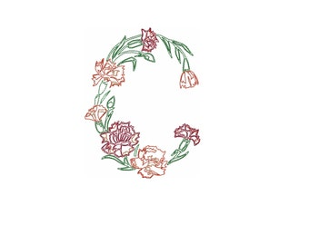 Carnation embroidery design