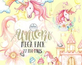 Clipart Unicorn watercolor, unicorn invitation, party, birthday, printable, instant download, planner stickers, planner girl, cute unicorn