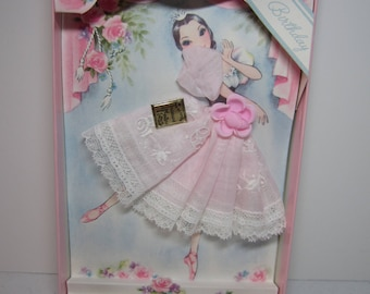 Adorable 1950's-60's unused novelty Treasure Masters made in Switzerland Birthday card pretty Ballerina on stage pink hankie for dress,roses