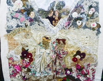"""51"""" x 34"""" Victorian Art Quilt Collage Textile Fabric Wall Hanging Made With Vintage Fabrics, Trims, Lace, and Beads and Hand Painted"""