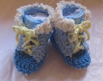 Baby Boy Blue Winter Boot Booties Warm Crochet Blue Skies Yellow Laces Two Tone Ties Sherpa Trim Shower Gift Present Christmas Stocking