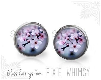 CHERRY BLOSSOM Earrings, Cherry Blossom Stud Earrings, Cherry Blossom Post Earrings, Stud Earrings, Pierced Earrings, Sakura Flower Studs