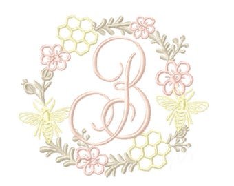 Honey Bee Fall Laurel Wreath Embroidery Design Instant Download Font 4x4 5x7 6x10 PES BX All Formats