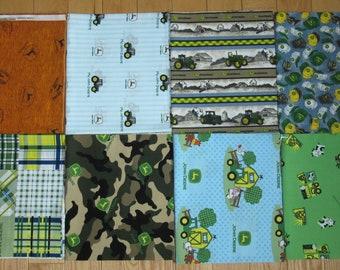 8 JOHN DEERE Fabrics 1/2 yard each Fabric LOT Tractor Farm