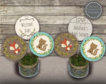 Woodland baby shower centerpieces, woodland boy baby shower centerpieces, printable centerpieces, party circles, baby shower decors