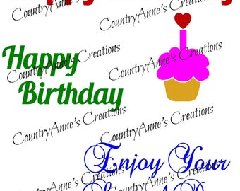 "SVG PNG DXF Eps Ai Wpc Cut file for Silhouette, Cricut, Pazzles - ""Birthday Card Toppers"" svg"