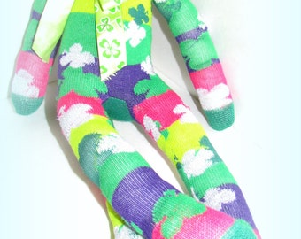 Sock Monkey Doll St. Patrick's Handmade Green Shamrock Stripes