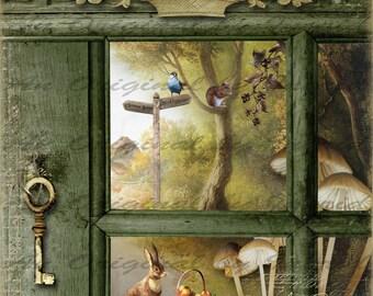 Spring Visit Digital Collage Greeting Card (Suitable for Framing)