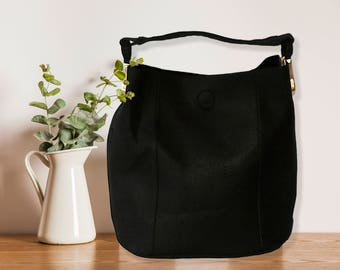 Black hobo bag, Bucket bag, Tote bag with a clutch, Large vegan bag, Vegan leather bag, Large shoulder bag, Bag for work, Vegan bag gift