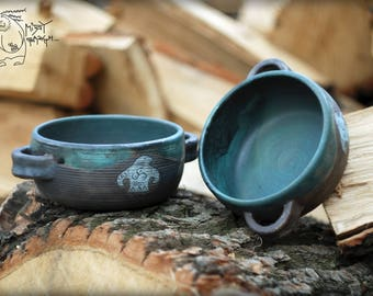 Large bowl 'raku' with handles 700ml/24 fl Oz, Big bowl with bird, soup bowl, cereal bowl, pottery set, handmade ceramic bowl, unique gift