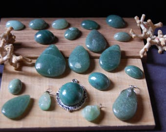 Aventurine, quality jewelry, or green quartz drops and unit cabochons 15 2 gr. or in batch