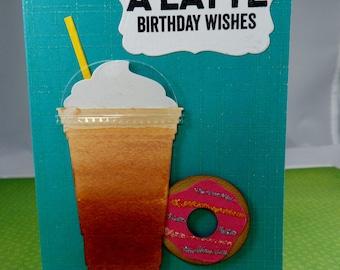 Latte Birthday Wishes Gift Card Holder -- Birthday Card Gift Card Holder -- Gift Card Holder -- Latte Gift Card Holder