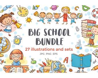 School Bundle, schoolkids clipart, schoolchild set, kids doodle, education, learning, teaching, illustration, activities, classroom