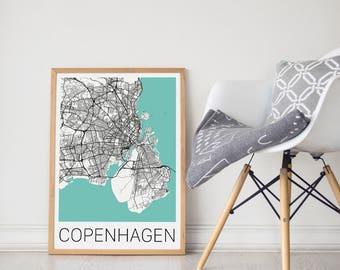 Copenhagen Map Print/Copenhagen City Map/Copenhagen Map/Copenhagen Gift/Copenhagen City Art/Travel Art/Copenhagen Poster/Copenhagen Print