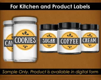 Printable Kitchen Labels - Pantry Labels - Instant Download
