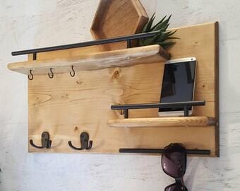 Wood Coat Rack || Entryway Organizer, Mail Storage, Key Hook, Floating Shelf