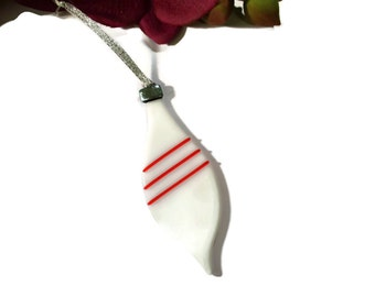 Old Fashioned Christmas Ornament, Fused Glass, Oblong, White and Red, Retro Ornament, Christmas Decor, Holiday Decor, Dichroic Glass