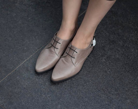 Oxford Women Leather ladies Taupe Shoes Shoes Flat Embroidered Unique Shoes Shoes Oxfords Shoes Flat Lace Gray Handmade Up Women for RpqxI