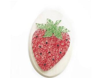Easy DIY kit - Strawberry design - String art kit - Mom gift - Birthday gift - kitchen decor