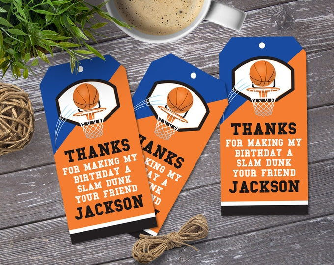 Basketball Favor Tag - Basketball Party, Basketball Birthday, Thank You Tag, Gift Tag, Blue | Editable DIY Instant Download PDF Printable