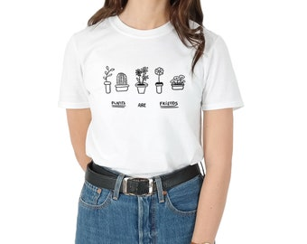 Plants Are Friends T-shirt Top Shirt Tee Summer Fashion Blogger Pocket Cactus Flower