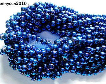 Natural Metallic Blue Hematite Gemstone Round Ball Beads 16'' Metallic Color 4mm 6mm 8mm 10mm For Jewelry Making Crafts
