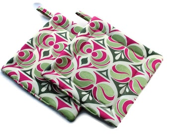 Handmade Quilted Pot Holders Joel Dewberry Set of 2 pink Green Potholders