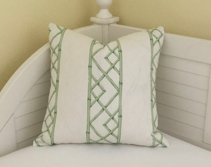 Kravet Latticely in Jade Linen on Both Sides Designer Pillow Cover - Square  and  Euro Sizes