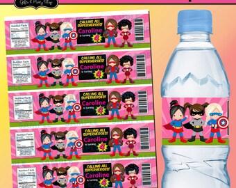 Superheroes Water label,Superheroes Party,Superheroes Favors,Superheroes labels, Printable Water labels,Superheroes,Customized labels