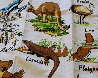 aussie animals cotton linen towel