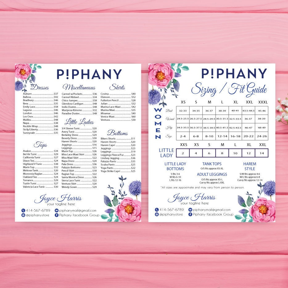 Piphany Size Chart Piphany Price list poster Custom Pphany