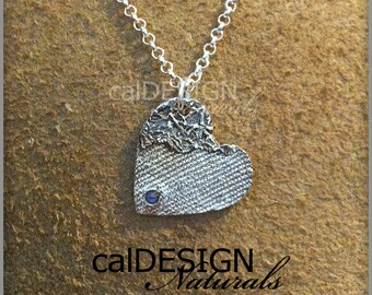 Artisan Made Denim & Floral Lace Necklace, Sterling Silver Heart Pendant w Tanzanite CZ - Valentine's Day and Mother's Day Anniversary