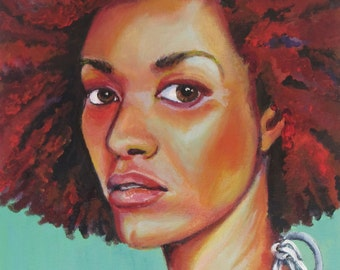 "Original Art, ""Headturner on Turquoise"", Original Painting, Wall Art, Acrylic Painting, Figurative, Portrait Painting, Canvas Art, 11x14"