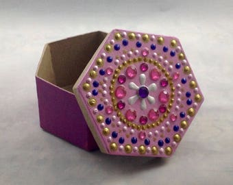 Hand Painted Box, Hexagon Box, Paper Mache Box, Deep Pink Box, Gold and Pink Decorations, Gifts under 20, Dot Art, Gift Idea, Bling Box