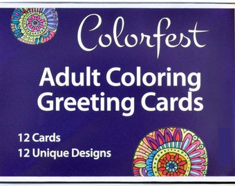 Colorfest Adult Coloring Greeting Cards Boxed Set With Envelopes
