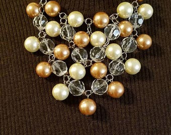 Chocolate Brown and pearl bib statement  necklace