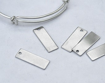 Stainless Steel Stamping Blank Tag, 25mm x 9mm rectangular. For engraving, hand-stamped jewelry, initial charms. Blank tag. (WD7-1c)